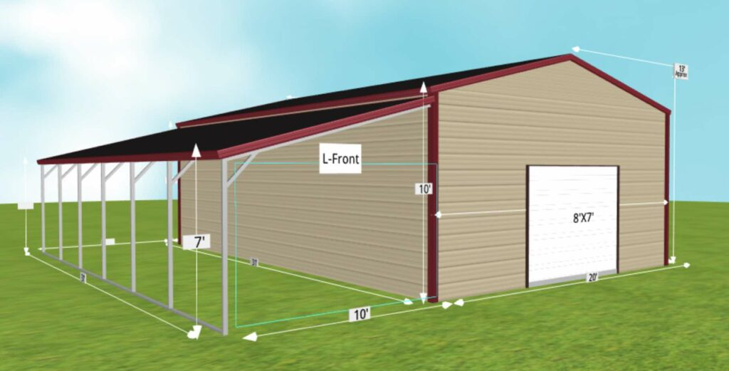 garage with metal lean to sheds