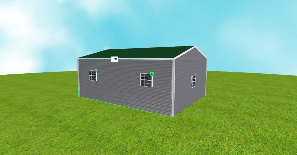 Metal 2 Boat Garage Boxed-Eave Roof Style back