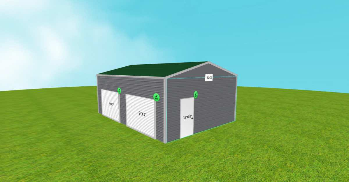 Metal 2 Boat Garage Boxed-Eave Roof Style front side door