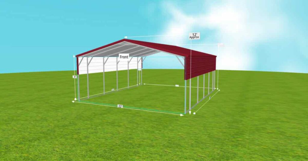 Steel 2-Car Standard Carport With Vertical Roof outside
