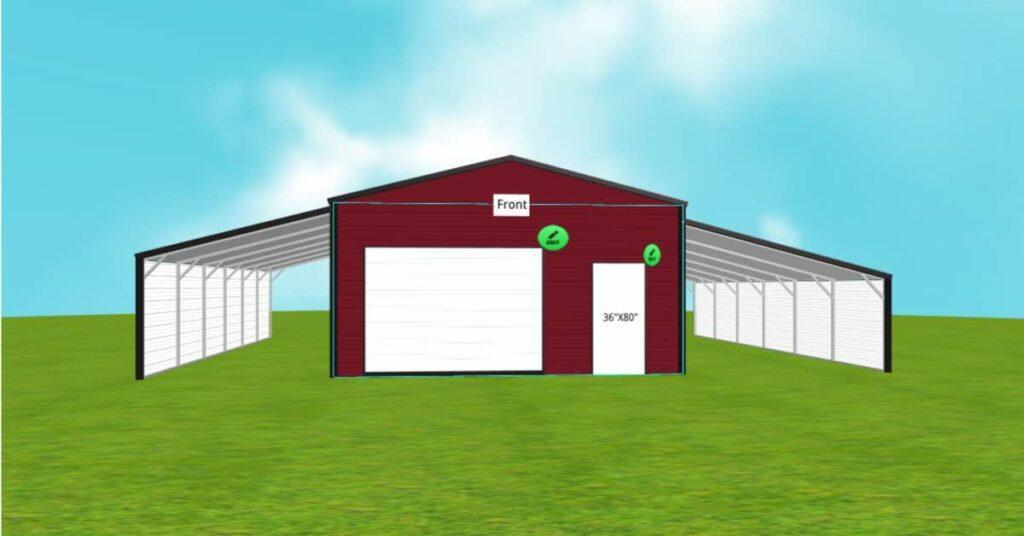 metal storage garage leant to walk in door 1
