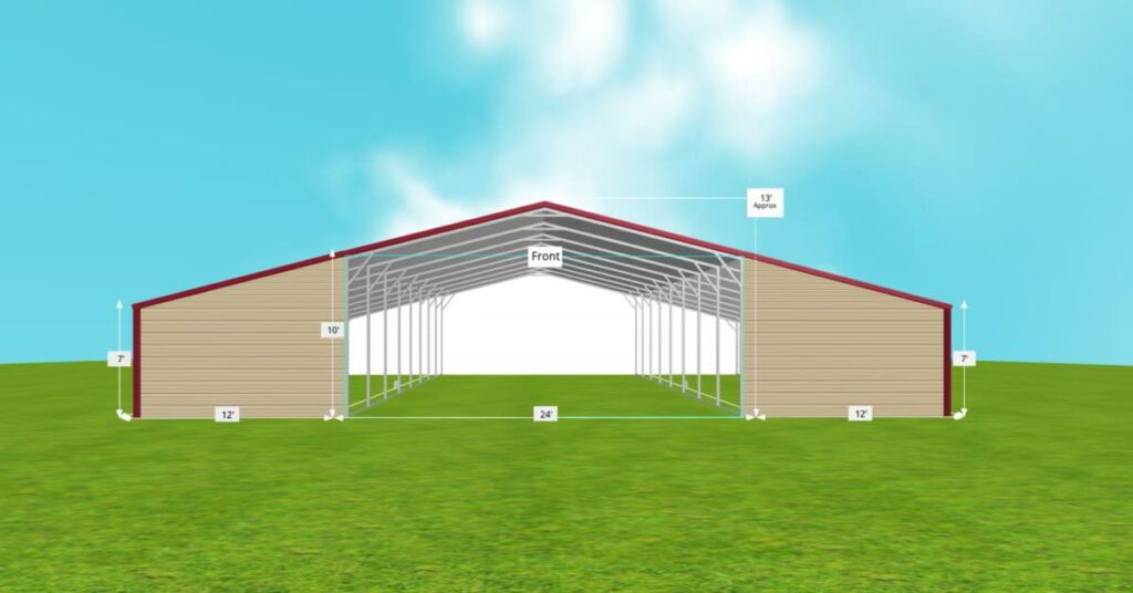 straight roof metal barn front