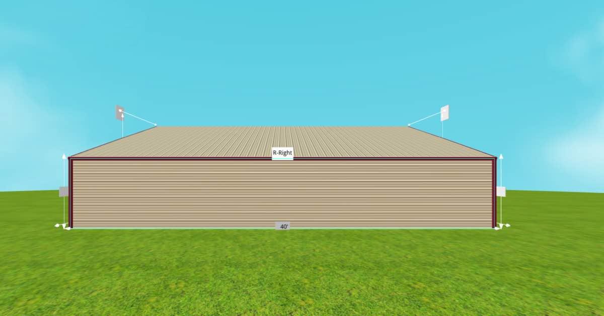 straight roof metal barn side