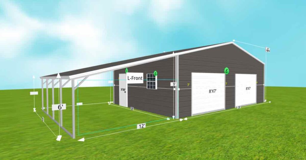 triple wide garage with lean to side