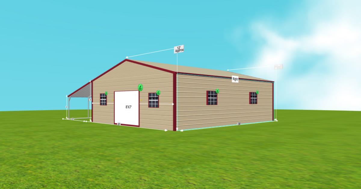 triple wide metal garage lean to windows side