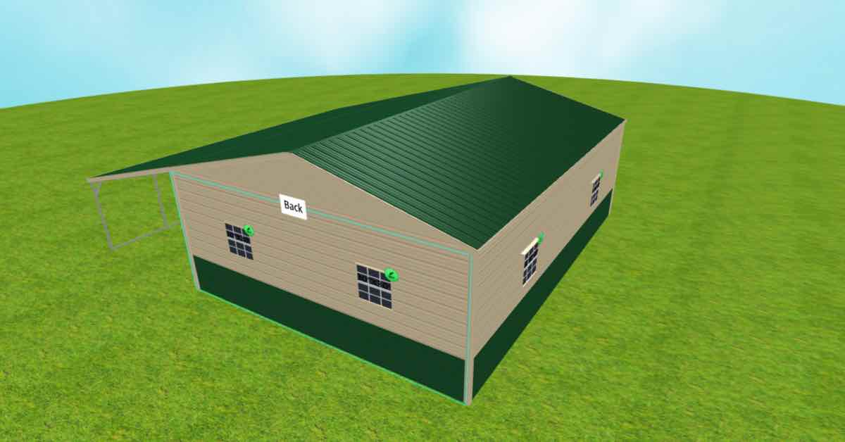 2-car garage with lean to back view