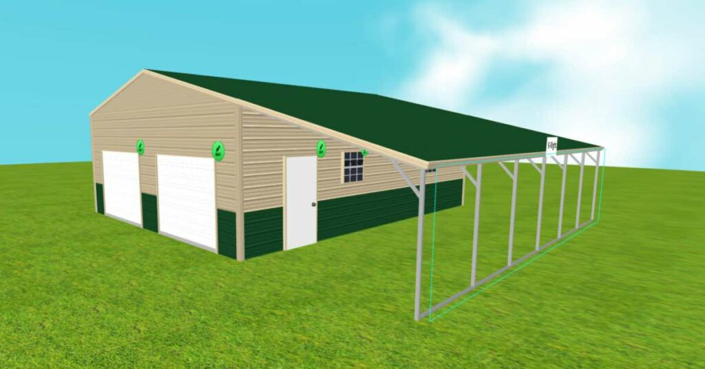 2-car garage with lean to front view
