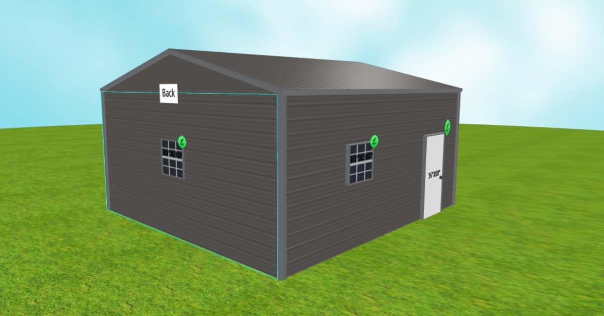 20x21 side-entry garage back side