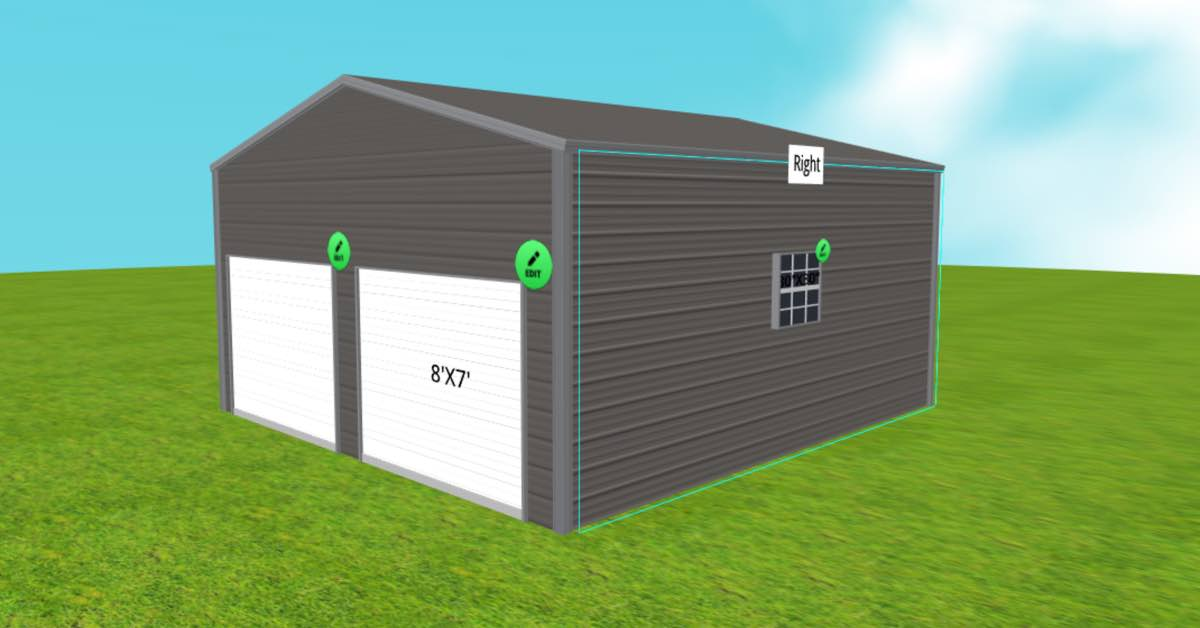 20x21 side-entry garage front right view