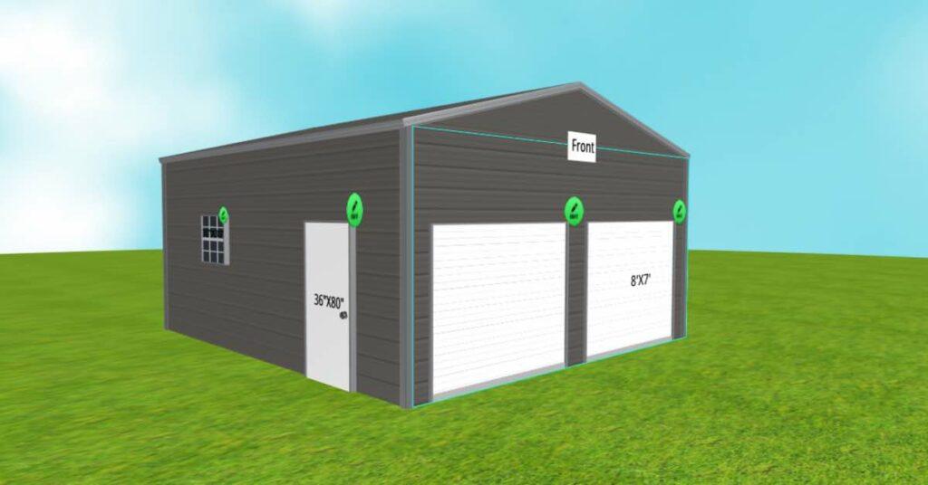20x21 side-entry garage walk-in door view