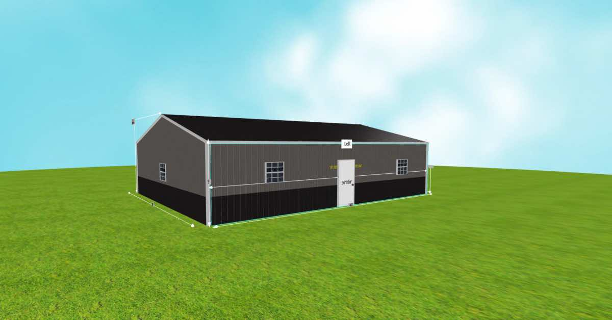 30' W x 40' L x 9' H Boat Garage With 2 Walk-in Doors back