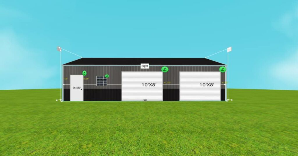 30' W x 40' L x 9' H Boat Garage With 2 Walk-in Doors front