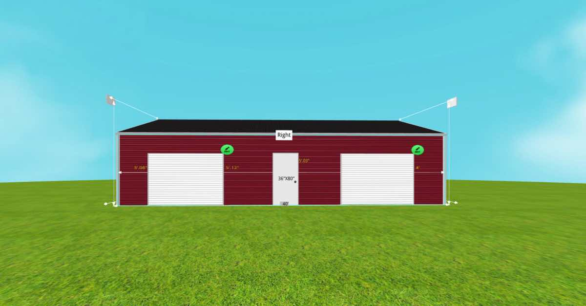 30'Wx40'Lx9'H Steel Garage With Roll-Up Door front