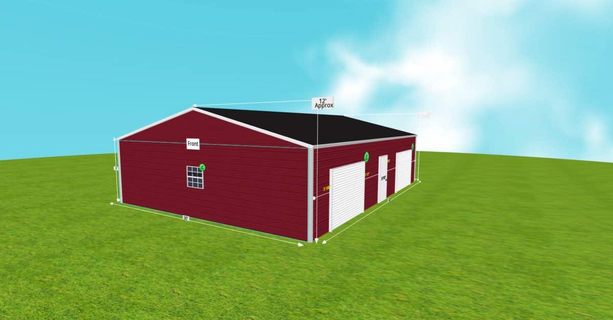 30'Wx40'Lx9'H Steel Garage With Roll-Up Door left side