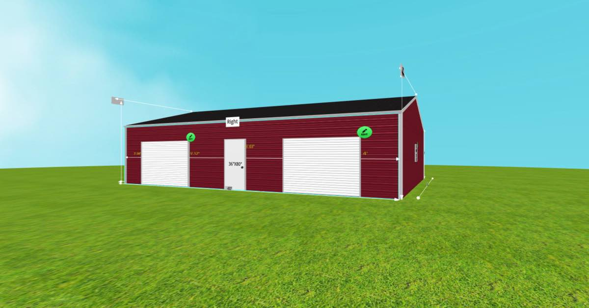 30'Wx40'Lx9'H Steel Garage With Roll-Up Door right side