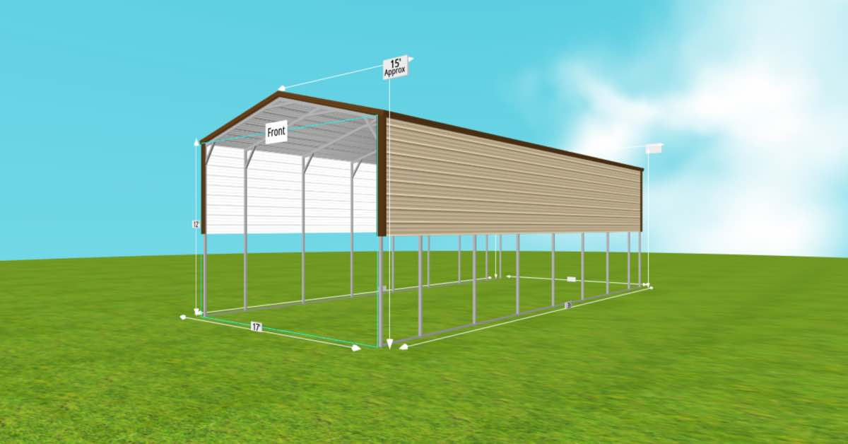 Metal RV Carports for Campers and Motorhomes side view