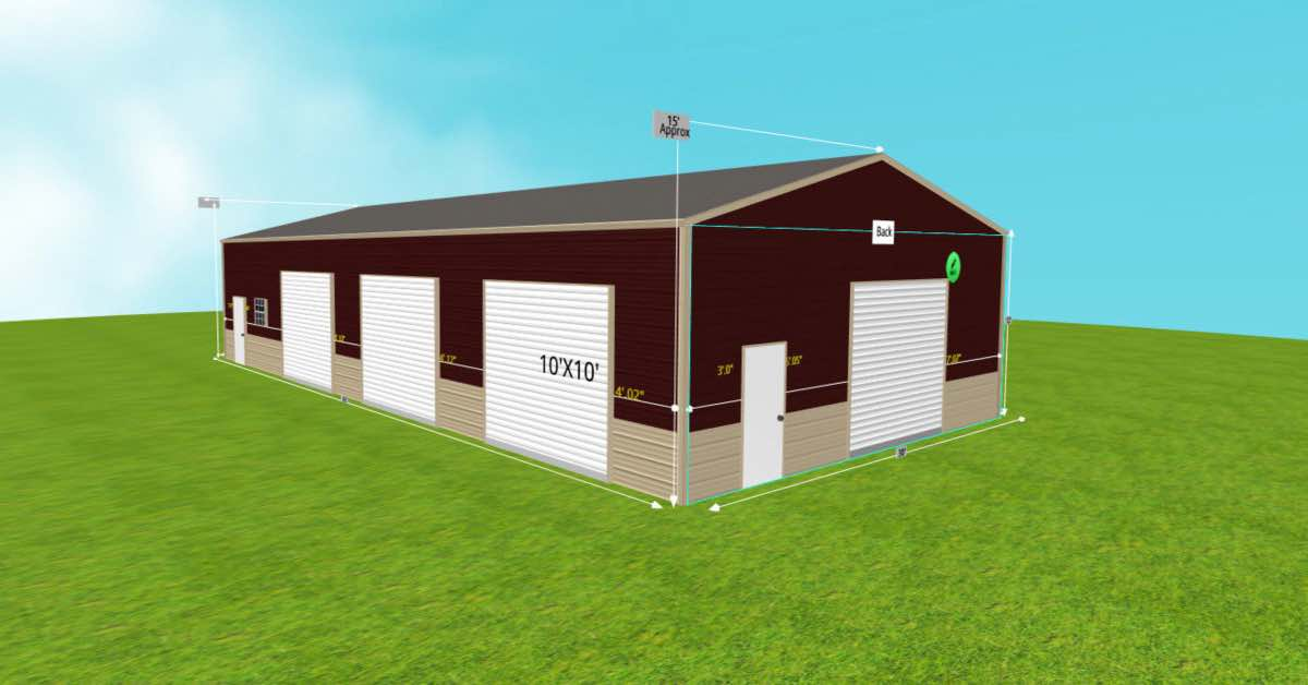 Metal_Steel Warehouse Office Space 30'W x 60'L x 12'H front
