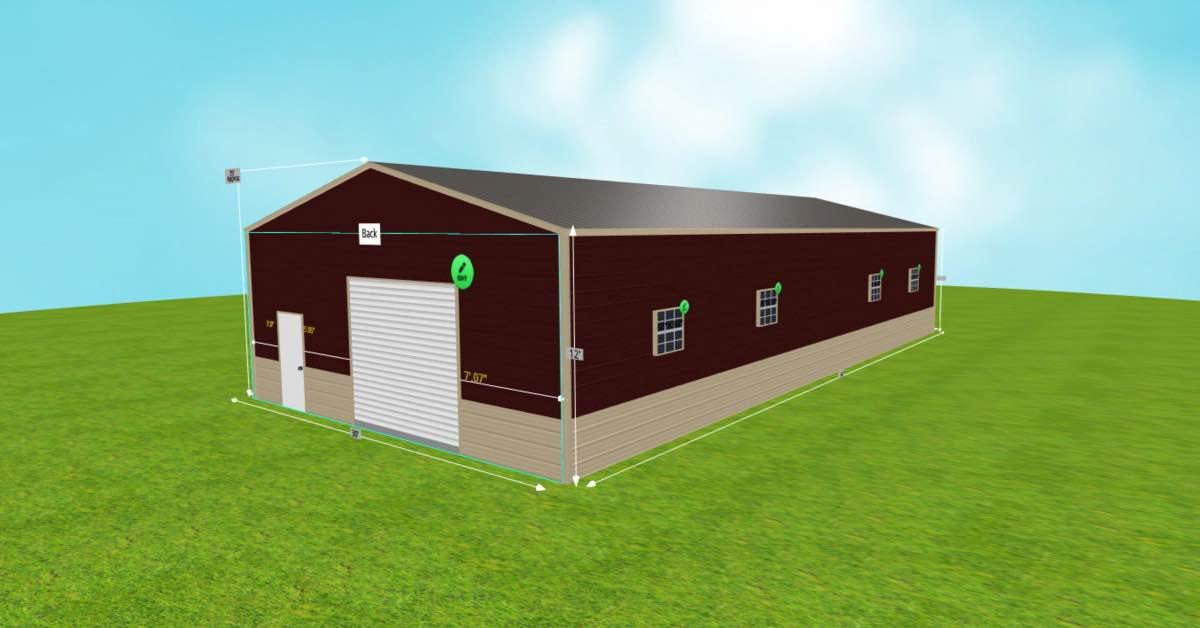 Metal_Steel Warehouse Office Space 30'W x 60'L x 12'H side