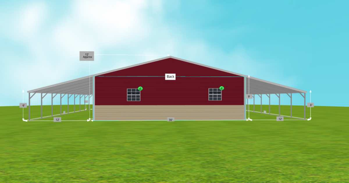 Multi-Purpose Garage Extended Carport With Roll-up Door back