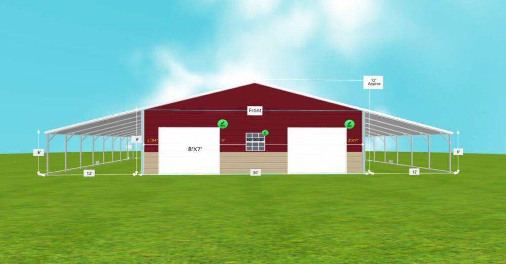 Multi-Purpose Garage Extended Carport With Roll-up Door front