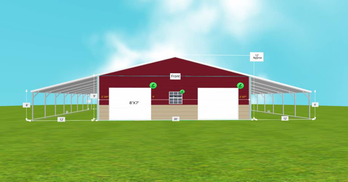 Multi-Purpose Garage Extended Carport With Roll-up Door front