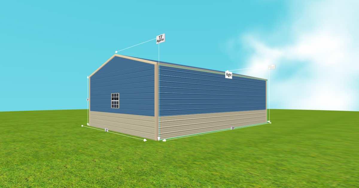 Prefab Steel 2 Car Garage Utility Building back