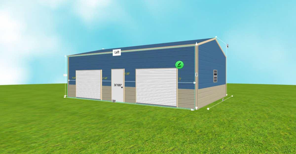Prefab Steel 2 Car Garage Utility Building front side