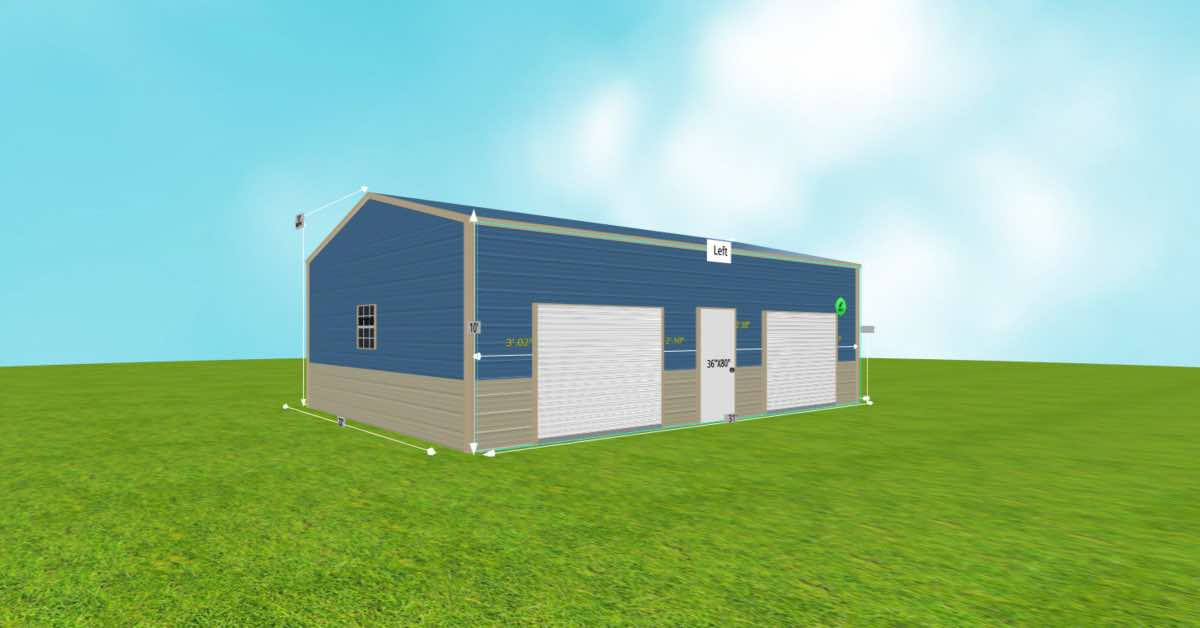 Prefab Steel 2 Car Garage Utility Building front