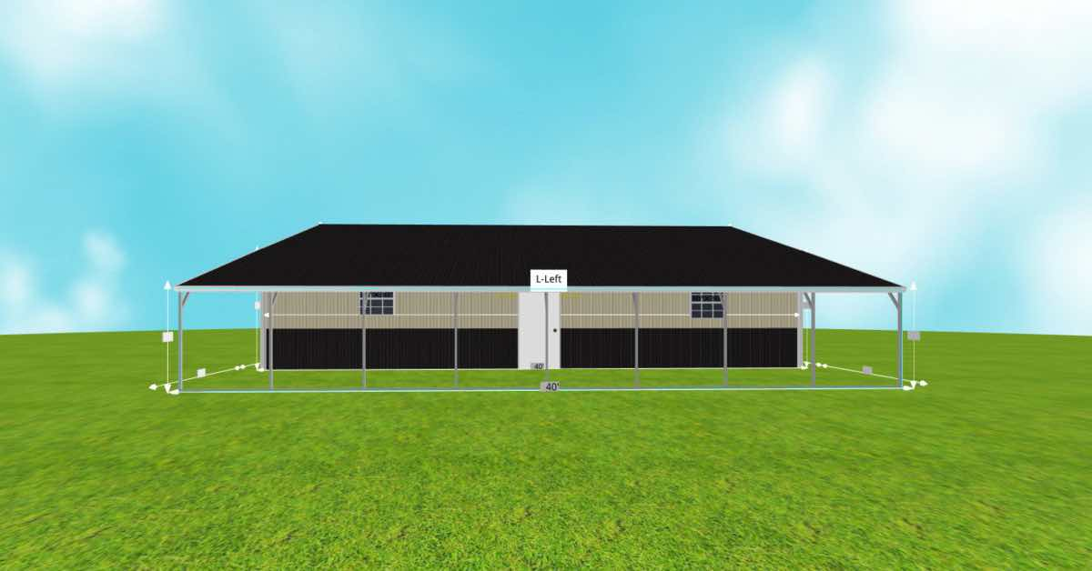 Steel Garage With Patio and Roll-up Garage Doors patio