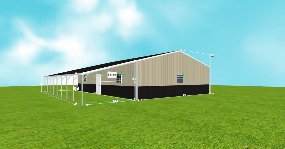Steel Garage With Patio and Roll-up Garage Doors side 2