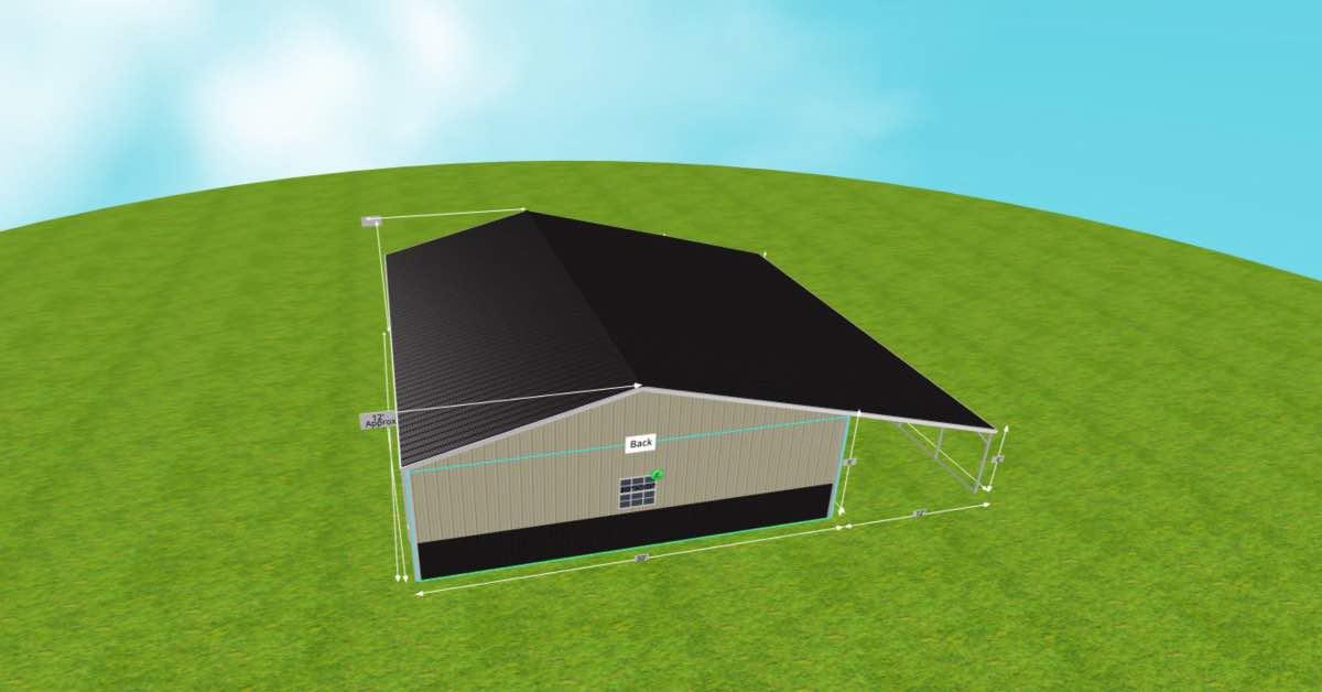 Steel Garage With Patio and Roll-up Garage Doors top