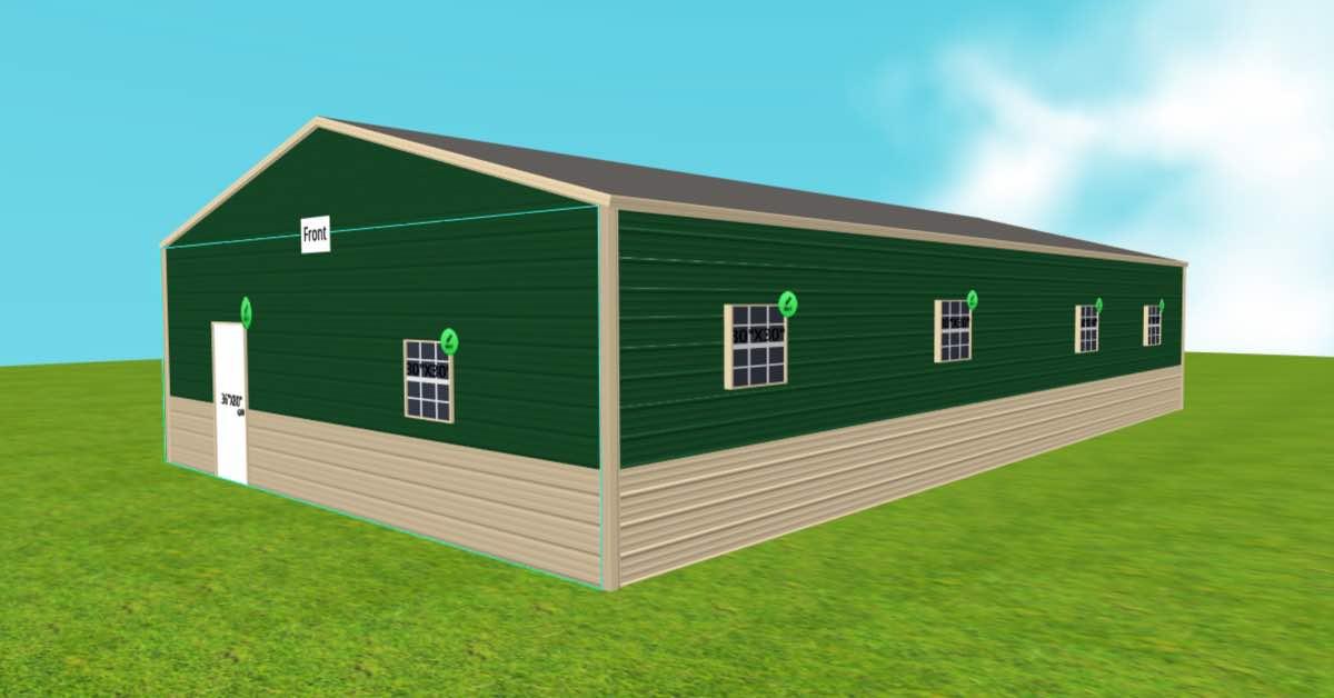 Surplus Storage Garage With Roll-Up Garage Doors Back View