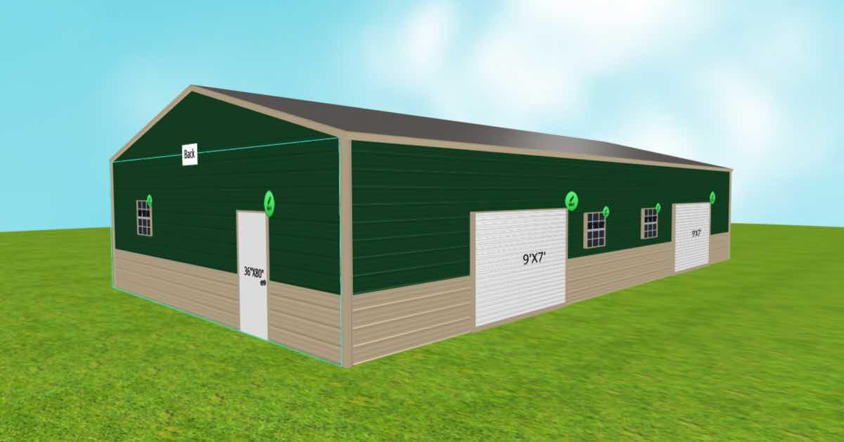 Surplus Storage Garage With Roll-Up Garage Doors Front Right