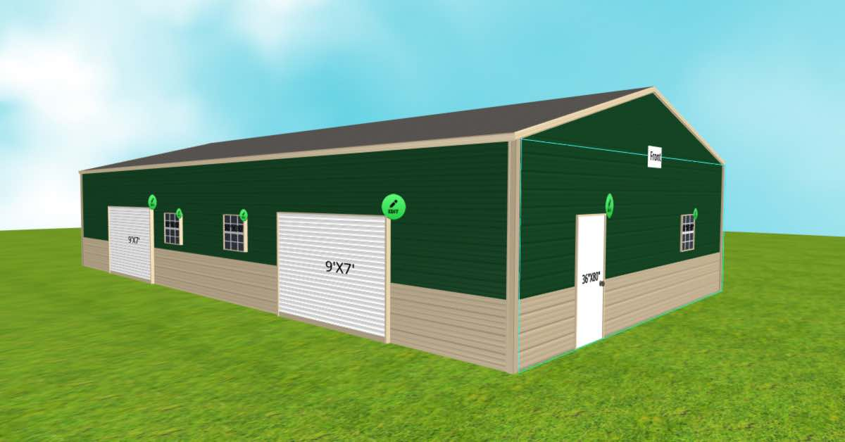 Surplus Storage Garage With Roll-Up Garage Doors left front view