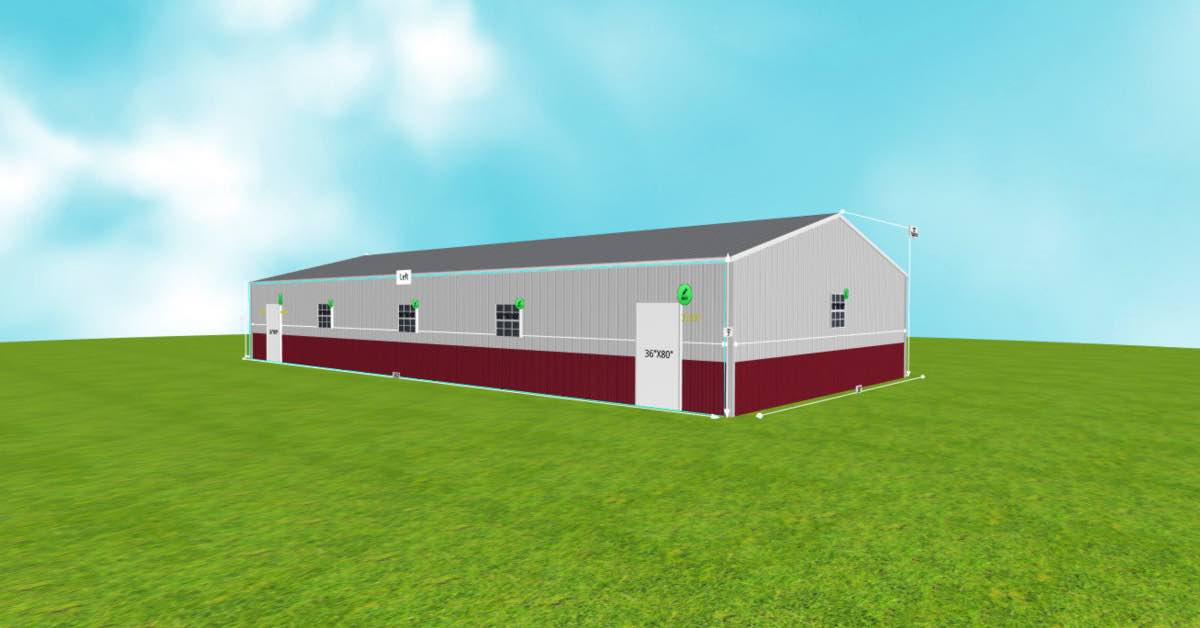 Wide Metal Commercial Auto Buildings right front