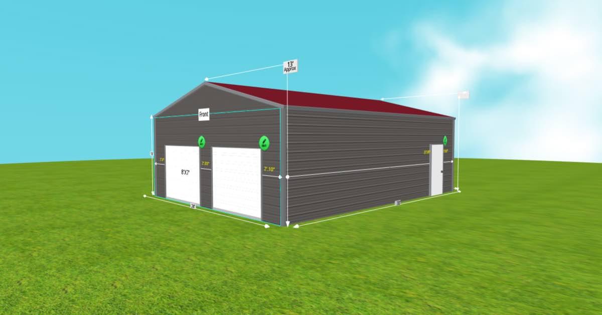 metal garage 2 roll up doors windows front