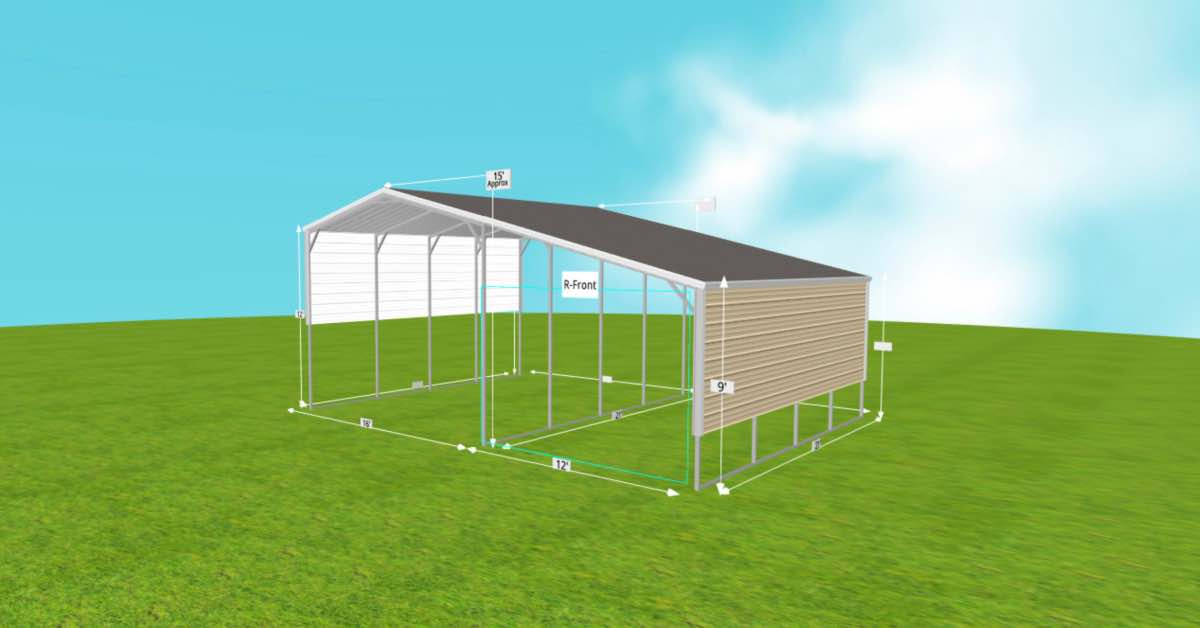 metal rv carport with lean to side
