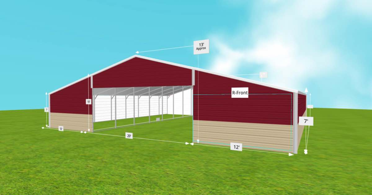 standard barn with large open front and garage door front